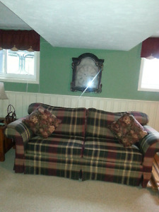 plaid three seater couch.....paisley print comfy chair