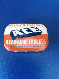 vintage Medical Ace Headache Tablets pill box 50s-60s graphics s