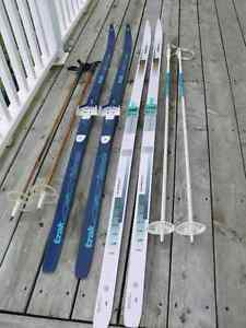 2 Pair Cross Country Skiis and Poles