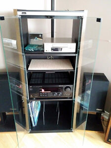 Audio Video Stereo System with Glass Front Cabinet