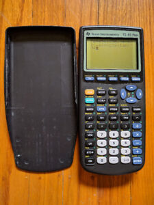 Texas Instruments TI-83 Plus Graphing Calculator with front cove