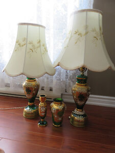 Vintage Green glass Bohemian Lamps and vase