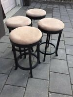 Black and beige suede barstools stool