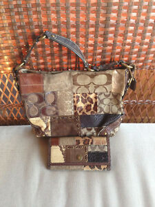 Coach Carly Signature Animal Patchwork Bag w/Matching Wallet