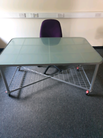 Glass Desk with wheels