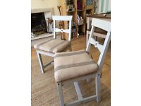 Two dining chairs with cushions