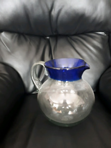 Handblown glass water pitcher and glassware set