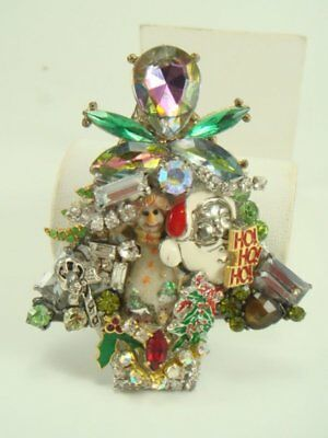 Lovely Hand-crafted Christmas Tree Pin Brooch Artisan Jewelry Bejeweled