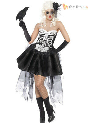 Ladies Skelly Von Trap Skeleton Fancy Dress Costume Womens Halloween Outfit 8-18