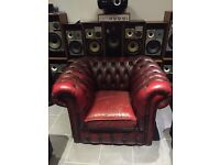 Vintage Chesterfield chair red leather sofa