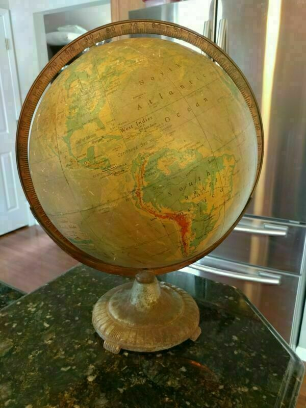 "Vintage Ranally Rand McNally Globe 12"" Diameter 17"" Tall Metal"