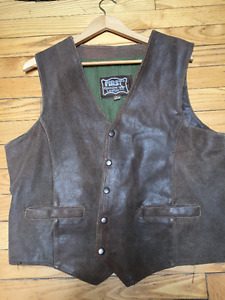 Mens Brown Leather Vest Large
