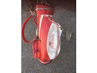 Howson golf clubs , bag + trolley