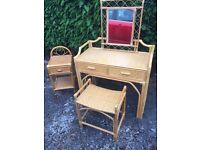 Wicker & bamboo Dressing Table, Stool, Mirror & Side table - Can Deliver