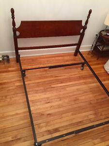 Vintage Wooden Headboard and Metal Double Bed Frame