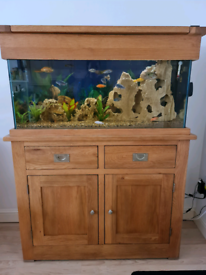 Beautiful solid oak fish tank. Comes with 2 filters & more