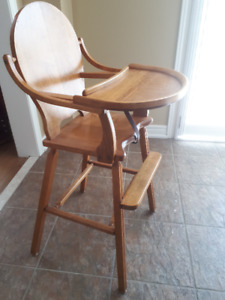 Handcrafted vintage solid wood High Chair with Lift-up tray
