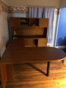 Office desk and file cabinet