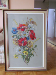 Needlepoint picture framed
