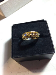 10 Karat Gold Ring With Colored Stones $125