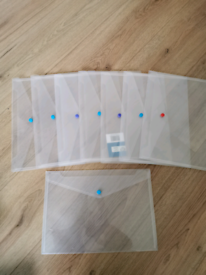 Plastic Wallets A4 Folders Snap Button for Home Office School each £1