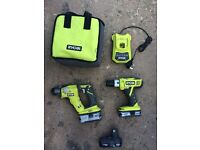 Ryobi 18v SDS & Combi Drill with 3 batteries, charger & case