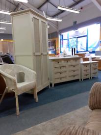 Complete bedroom white wicker furniture set