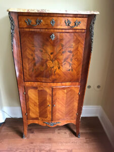 Antique secretary/desk-  inlayed wood,marble top