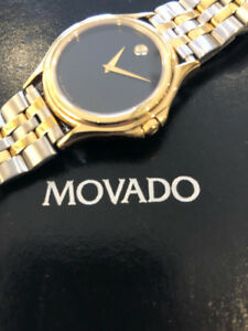 MOVADO MEN'S CLASSIC 18K GOLD WATCH WITH SAPPHIRE ON BLACK DIAL