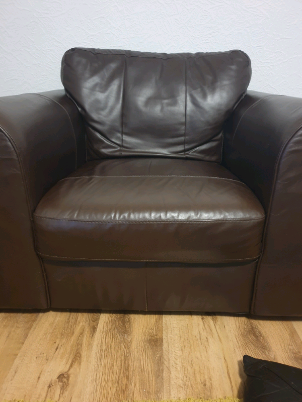 Real brown leather armchair | in Mansfield ...