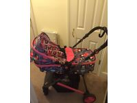 Cosatto Wish Travel system with Pram pushchair mode car seat and base.
