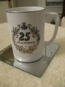 "COLLECTOR'S VINTAGE ""25TH WEDDING ANNIVERSARY"" PORCELAIN  MUG"
