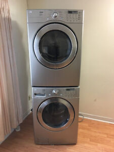 "LG 27"" grey stackable frontload washer & electric dryer FOR SALE"