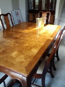 Time to down size - Asian Burl inlay dinning table and hutch