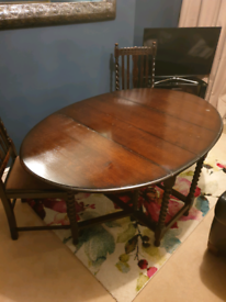 Vintage Drop Leaf Oak dining table Barley Twist legs