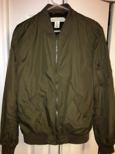 2 Nylon Bomber Jackets - 1 Dark Khaki Green & 1 Antique Rose