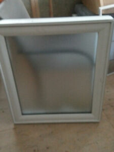 Vinyl casement window with frosted glass