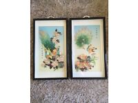 VINTAGE CHINESE CARVED PEACOCK PEARL AND JADE WALL ART BEAUTIFUL SET