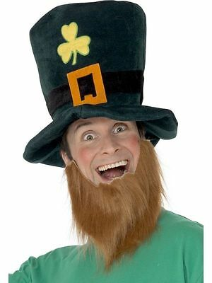 Men's Leprechaun Top Hat & Beard St Paddy's Day Ireland Stag Fancy Dress Fun - St Paddy's Day Fancy Dress Kostüm