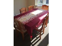Solid pine dining table and 6 chairs