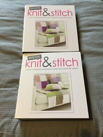 2 x knit & stitch folders with magazines, Cath Kidston knitting needles in holder and wool