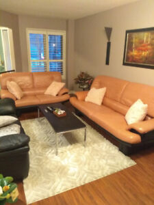 Leather sofa and loveseat.