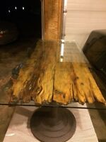 reclaimed wood coffee table with glass top and entry table