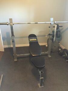 Power tech bench press and weights + bars