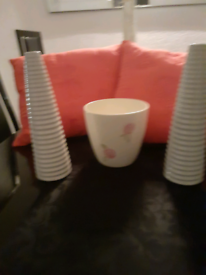 Next Cushions pink 2 White Vases And Plant Pot