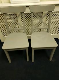 2x IKEA Ingolf Grey Dining Chairs