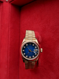 23478705f Ladies rolex datejust 18ct all gold president diamond dial watch