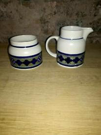 1970s retro Royal doulton tangier sugar bowl and milk jug