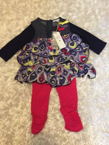 Infant Girl Petit Lem 2 piece Outfit Blue Tiered Top/tunic &