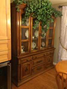 Vintage Oak China Hutch & Buffet (50+ years old)